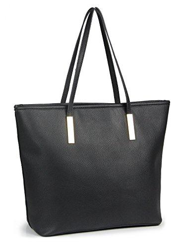 - Simple Solid Color Pu Leather Top Handle Satchel Handbags for Women Shoulder Bags (Black)