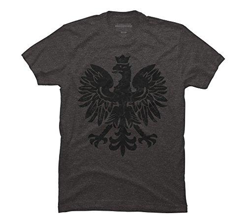 Eagle Polish (Polish Eagle Black Halftone Men's 2X-Large Charcoal Heather Graphic T Shirt)