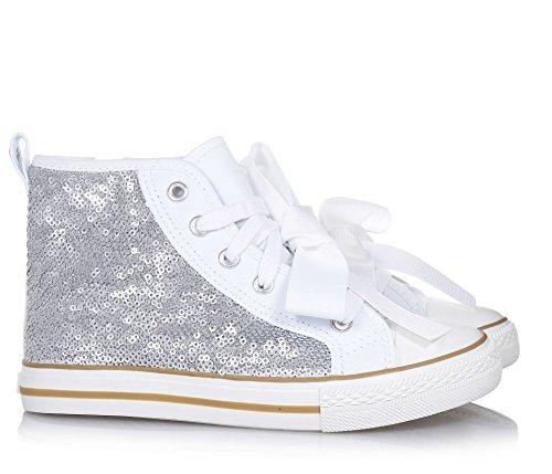 TWIN-SET - Sneaker à lacets argent en paillettes et tissu, originale et à la mode, Fille, Filles, Femme, Femmes