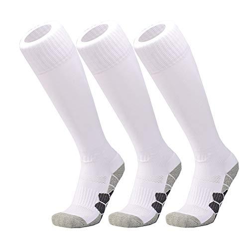 Little Childrens Soccer Socks 7-14 Years Kids Boys Girls Compression Football Socks White 3 Pairs]()