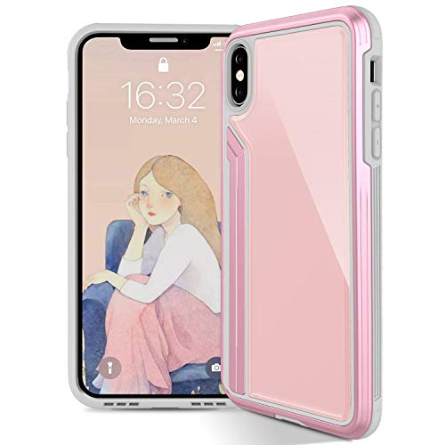 Aluminum Frame 10ft (OCYCLONE iPhone Xs Max Case for Women Girls, [Tempered Glass] Cute Shockproof Defense Series With 10 feet Drop Tested, Anodized Aluminum and Polycarbonate Protective Phone Case for iPhone Xs Max, Pink)