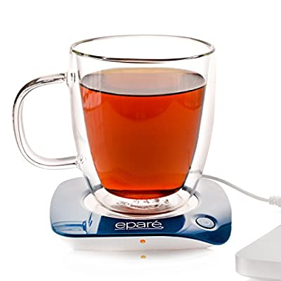 Eparé USB Mug and Cup Beverage Warmer for Desktop - Electric Travel Desk Warming Heater Hot Plate for Mugs Cups Tea & Coffee Cups use with Office Laptop - Works with Glass Ceramic Scented Candle Wax