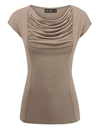(Come Together California WT1726 Womens Short Sleeve Cowl Neck Top - Made in USA S Taupe)