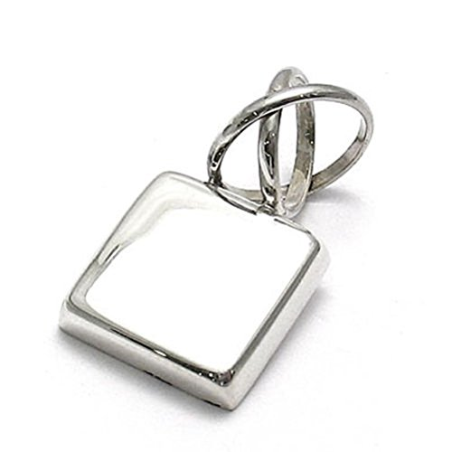 Sandra Creative Design Silver-tone Square Engravable Pendant w/ Fancy Bail