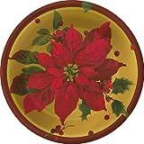 XDN108 Poinsettia Crimson Elegance Dinner Plates Hallmark Paper Party Goods