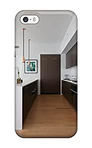 Iphone Case - Tpu Case Protective For Iphone 5/5s- Contemporary Kitchen With Brown Cabinetry And Brass Pendant Lights