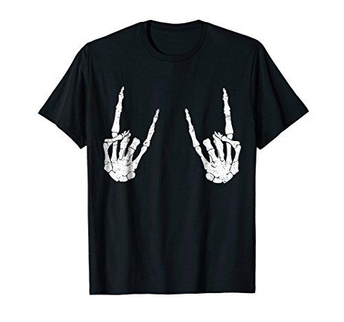 Trendy Halloween Skeleton Rocker Graphic Costume T Shirt