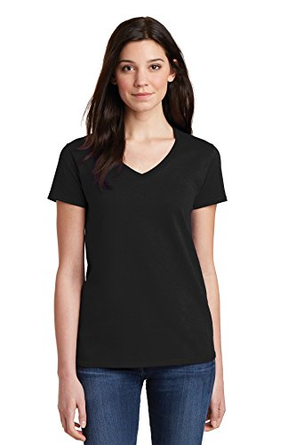 Color Black T-shirt - GUBUYI Women's Solid Color Short Sleeve t-Shirt (Black/V-Neck, L)