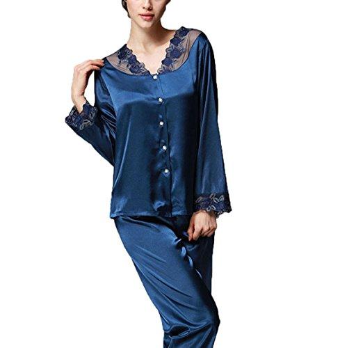 La Sra Primavera Y Otoño Ocasional Con Cordones De Seda Pijama De Manga Larga Blue