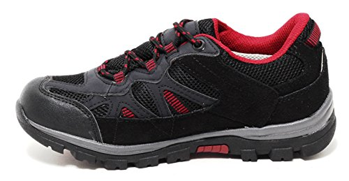 Damen Trekking Outdoor Walking Wanderschuhe Sportschuhe Sneaker WETTERFEST black/red
