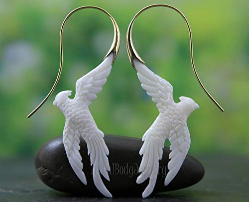 Bird of Paradise Mother of Pearl Hand Carved Earring Pair