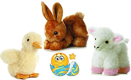 """Aurora Easter Friends Duckling Duck, Bitty Bunny, and Lana Lamb Mini FLOPSIE Set of 3 Plush Beanies 8"""" with Easter Egg Sticker"""