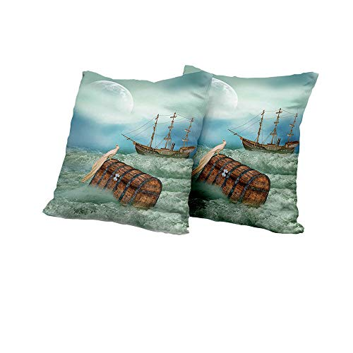 (All of better Wheelchair Cushion Cover Fantasy,Antique Old Trunk in Ocean Waves with Magic Bird Pirate Boat Picture,Mint Green Pale Caramel Square Euro Sham Cushion Cover 14x14 INCH 2pcs)