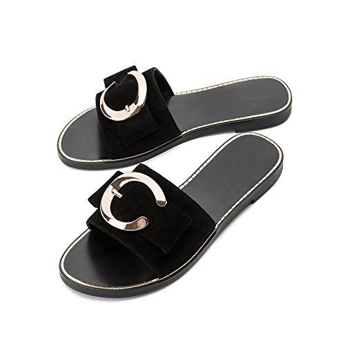 Negro de DHG Verano de Punta Tacones Ocasionales Dulces Altos Mujer Sólido Sandalias de de Tacón Planas de de 35 Sandalias Zapatillas Moda Color bajo Sandalias fEqEtxrg