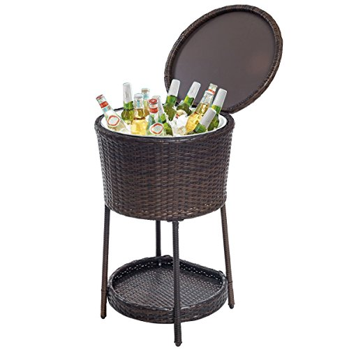 Cheap  Giantex Rattan Ice Bucket Bar Table Cooler Patio Wicker Furniture, All-Weather Beverage..