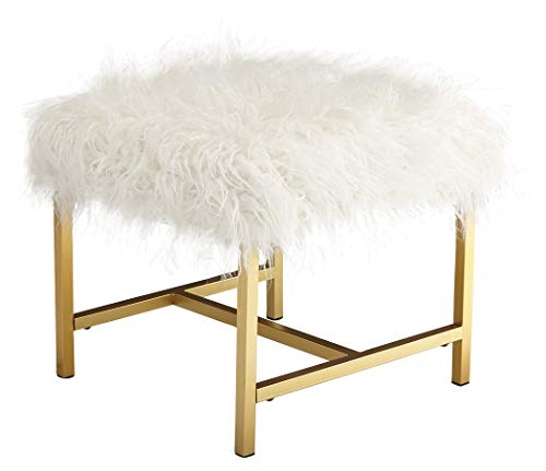 Ashley Furniture Signature Design - Elissa Accent Stool - Contemporary - White Fax Fur - Gold Metal Legs (Furry Stool Vanity)