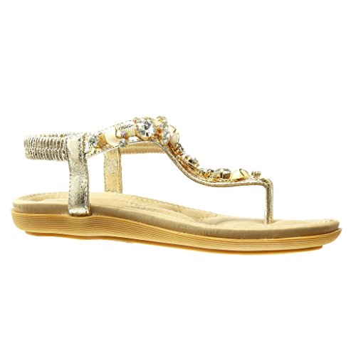 Angkorly Women's Fashion Shoes Sandals Flip-Flops - t-Bar - Jewelry - Rhinestone Flat Heel 2 cm Gold