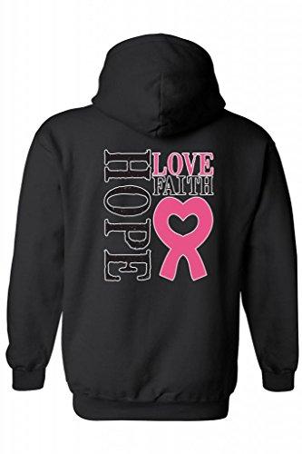 Unisex Zip-Up Hoodie Hope Love Faith Breast Cancer Awareness BLACK ( XXL)