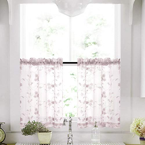 Lilac Tier Sheer Curtains 24 Inch Length Purple Kitchen Curtains Voile Floral Drapery Rod Pocket Top Curtain Panels for Short Basement Windows Living Room Bathroom 2 Panels