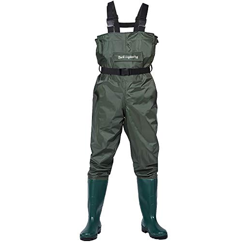 Dark Lightning Fishing Wader for Men and Women with Boots, Mens/Womens High Chest Waders (Green, M10/W12)