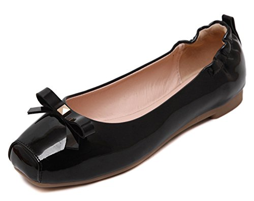 Comfy Aisun femmes Noir Bow On Loafer Flats Slip Toe Chaussures RrqpR