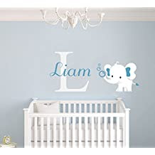 "Custom Name & Initial Elephant Wall Decal - Cute Animal Series - Baby Boy Girl Unisex Decoration - Mural Wall Decal Sticker For Home Interior Decoration Car Laptop (AM) (Wide 22"" x 10"" Height)"