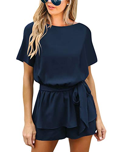 (Utyful Women's Casual Short Sleeve Belted Keyhole Back One Piece Navy Blue Jumpsuit Romper Size X-Large (Fits US 16 - US 18))