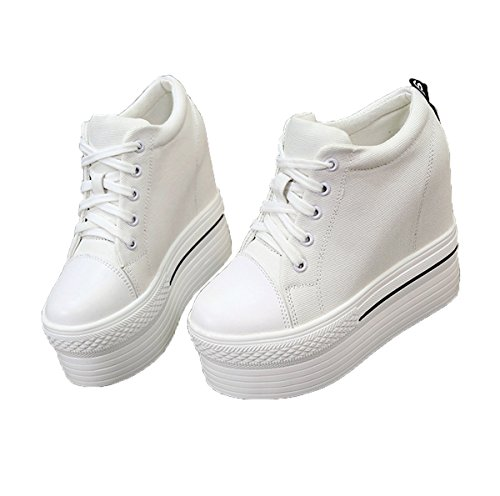 Women's increased heavy-bottomed canvas shoes (white? - 2