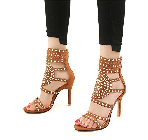 Las Cremallera Brown Sandalias Sandalias Cortas para Transparente Zapatos Plástico Mujeres Atractivas EU45 Toe UK12 Mujeres Tacones Nueva Peep Botas De De De Zplshoes TRgWnZg