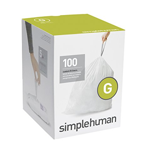 simplehuman Code G Custom Fit Liners, Drawstring Trash Bags, 30 Liter / 8 Gallon, 100-Count Box (Simplehuman Can Liners G compare prices)