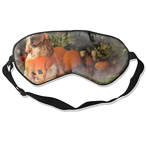 (Soft Comfortable Eye Mask, Dog Dressed As A Pumpkin 3D Sleep Mask with Adjustable Strap for Woman Man Eyes Sleeping Travel)