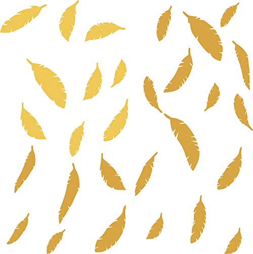 (Easma Feather Decals Feather in The Room Feather Stickers Feather Wall Decals Nursery Wall Decal Home Decor Peel&Stick Removable Wall Stickers-48pcs Matte Gold)