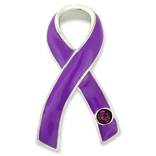 top PinMart Purple Awareness Ribbon with Rhinestone Enamel Lapel Pin get discount
