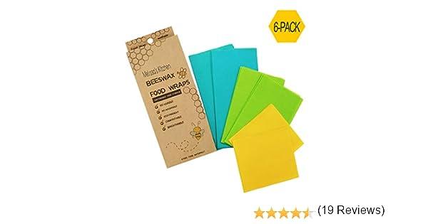 Melissas Kitchen Beeswax - Envoltorios reutilizables para alimentos (6 unidades), plástico ecológico duradero de primera calidad, libre de alimentos, varios colores, 2 grandes azules, 2 medianos verdes, 2 pequeños amarillos: Amazon.es: Hogar