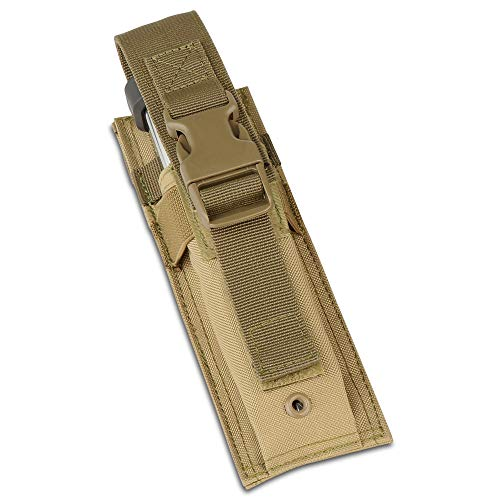 Savior Equipment Tactical Open-Top Single Pistol MOLLE Magazine Pouch - Adjustable & Removable Hook-N-Loop Cover Strap, Compatible with Extended Mag (Best 1911 Extended Mag Release)