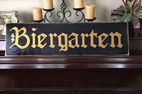 weewen Biergarten Beer Garden Sign German Oktoberfest Party Decor Deutschland Bavarian Wood Signs for Home Decor Quote Garden Plaque - Bavarian Beer Garden