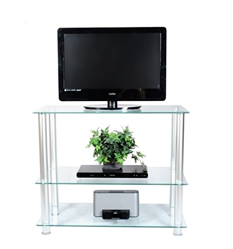 RTA Home and Office TVM-002 Extra Tall Glass and Aluminum LCD and Plasma TV Stand for a 35