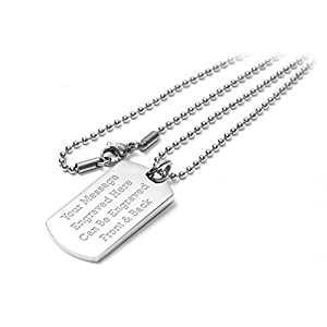 Personalised Luxury Dog Tag Pendant Identity Necklace – Engraved – Enter Your Custom Text