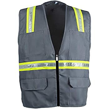 c95e5ec889c Safety Depot Safety Vest High Visibility Reflective Tape with 4 Lower  Pockets, 2 Chest Pockets with Pen Dividers 8038-Gray (Gray, Large)