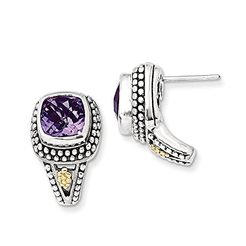 Sterling Silver w/14k Antiqued Amethyst Post Earrings by CoutureJewelers