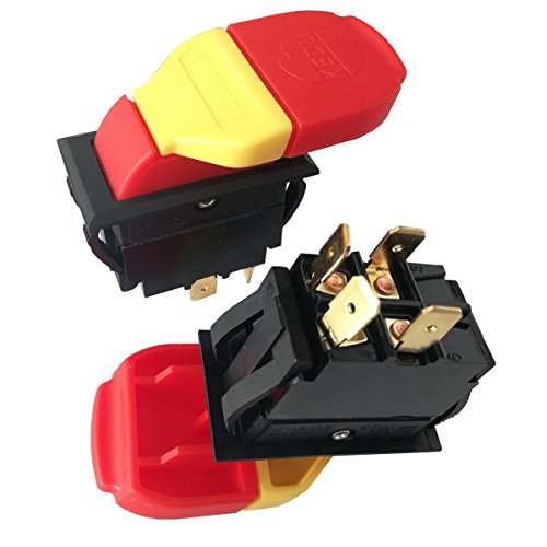 125/250V 4 Pins Electromagnetic Push Button Switch On Off Key Switches Single Throw Bipolar Switches with 6.3 Male Tab for Power Tools 16(10) A HY18