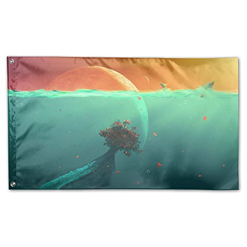 Colby Keats Deep Ocean Planet Fish Garden Lawn Flags Indoor Outdoor Decoration Home Banner Polyester Sports Fan Flags 3 X 5 Foot