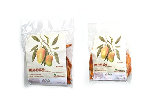 6 x 100g Mango getrocknet *süß sauer mix* fair trade, 100 % Natur von Kleinbauern - ohne Zucker und ungeschwefelt. Trockenfrüchte Mix 3x Brooks und 3 x Amelie fruchtige Mangostreifen