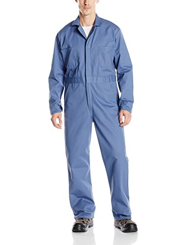 Red Kap Men's Snap Front Cotton Coverall, Oversized Fit, Long Sleeve, Postman Blue, 56
