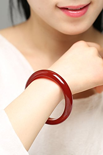 Natural red Agate Bracelet Bangle Black Snow Jade Women Girls Chalcedony Crystal Hand Jewelry Models Thin Strips widening Strip (General Thickening of Money - Circle 51-52mm