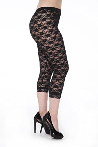 Unique Styles Lace Capri Leggings - Footless Tights Floral Pattern Cropped Pants (XX-Large, Black) ()