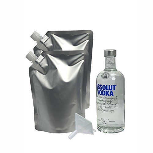 Sneak Your Alcohol Cruise Flask Foil Pouch Kit - 2 Pack (2 x 32 oz. flasks and 1 funnel) Travel Portable Secret Hidden Booze Wine Liquor Flasks (2 Pack)