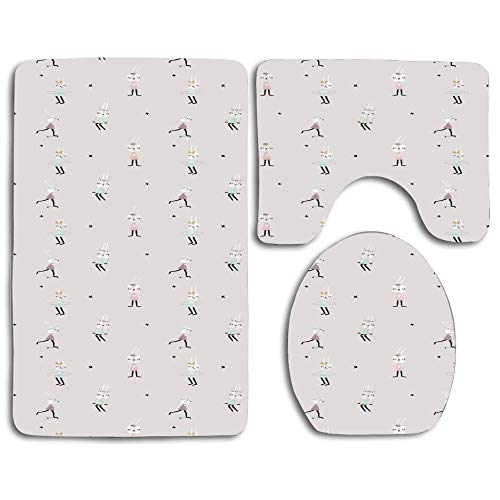 EnmindonglJHO Cute Bunny Girls on Swing Hula Hoop Scooter Ballerina Teen Stylish Artsy Thicken Skidproof Toilet Seat U Shaped Cover Bath Mat Lid Cover
