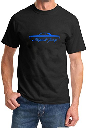 [1965-66 Plymouth Sport Fury Coupe Classic Outline Design Tshirt 3XL blue] (1965 Plymouth Sport Fury)