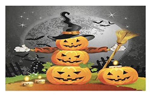 Lunarable Halloween Doormat, Cute Pumpkins Funny Composition Traditional Celebration Witches Hat Broomstick, Decorative Polyester Floor Mat with Non-Skid Backing, 30 W X 18 L Inches, Multicolor -